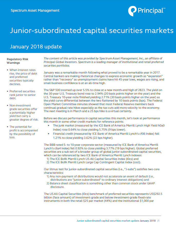 Preferred Securities Market Update: January 2018