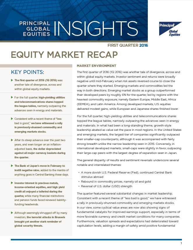 Equity Market Recap - 1st Quarter 2016