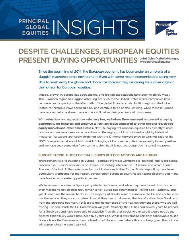 Despite Challenges, European Equities Present Buying Opportunities