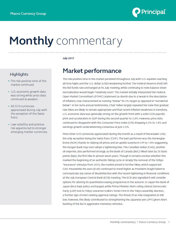 Macro Currency Group provides market commentary for July 2017