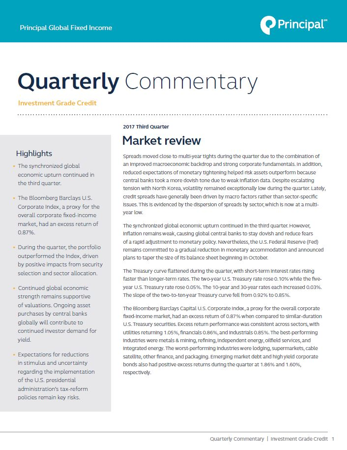 Principal Global Fixed Income's Investment Grade Credit team recaps the third quarter in their latest market commentary