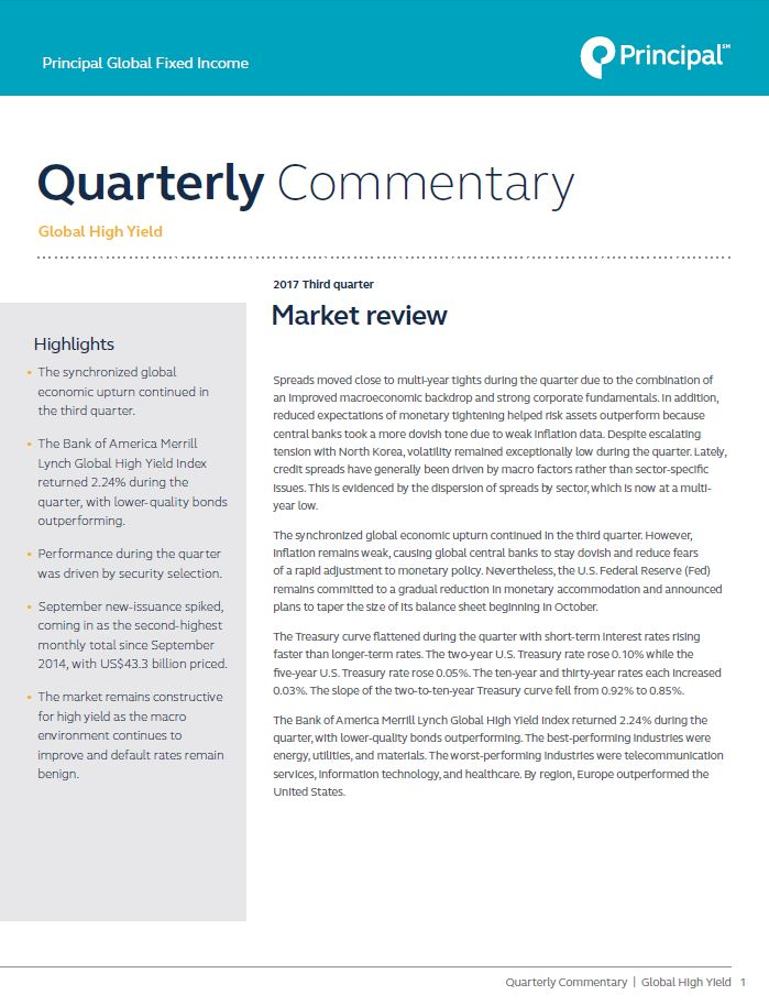 Principal Global Fixed Income High Yield Portfolio Managers provide third quarter market commentary