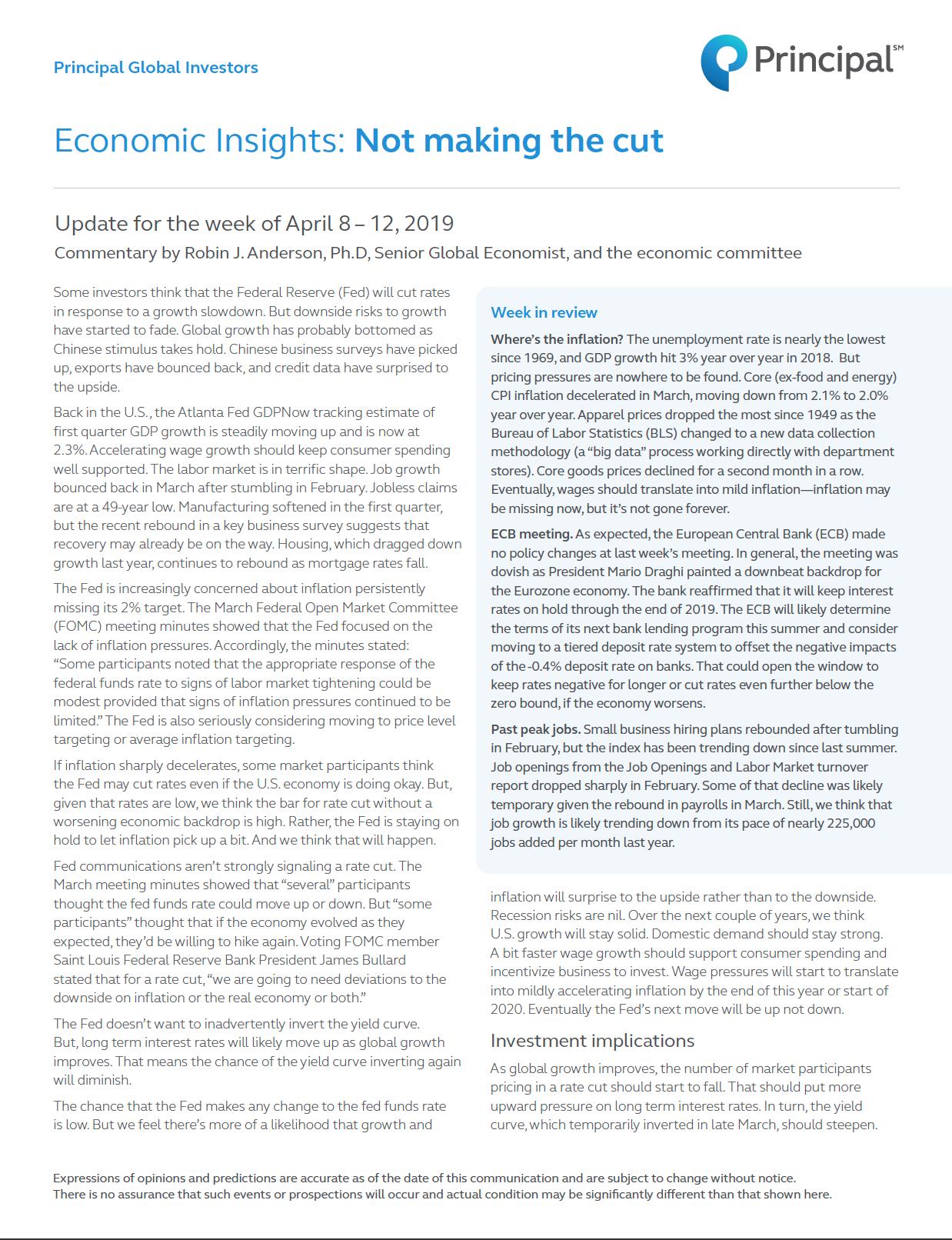 Thumb: Economic Insights - April 8 - 12, 2019