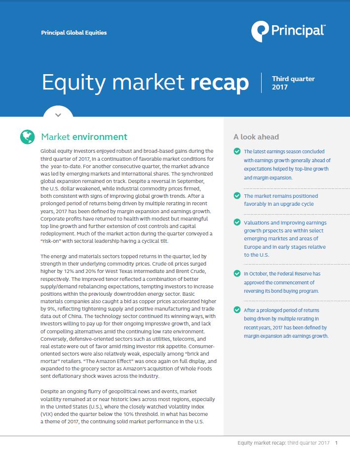 Equity market recap - 3rd quarter 2017