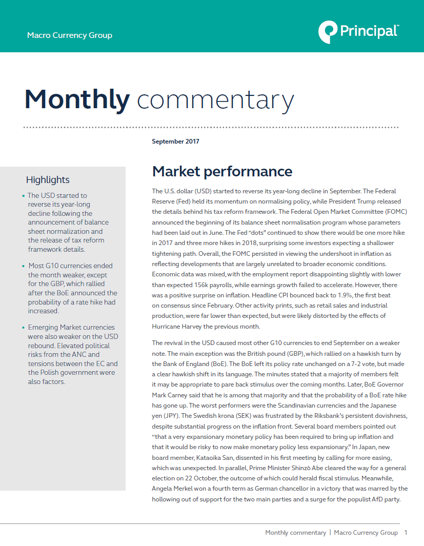 Macro Currency Group provides market commentary for September 2017