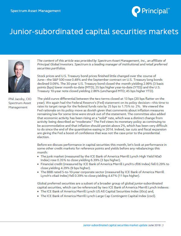 Thumbnail: Junior-subordinated capital securities market update: May 2018