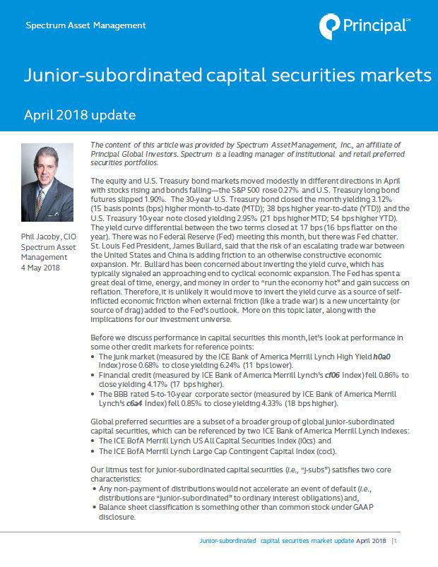 Preferred Securities Market Update: April 2018