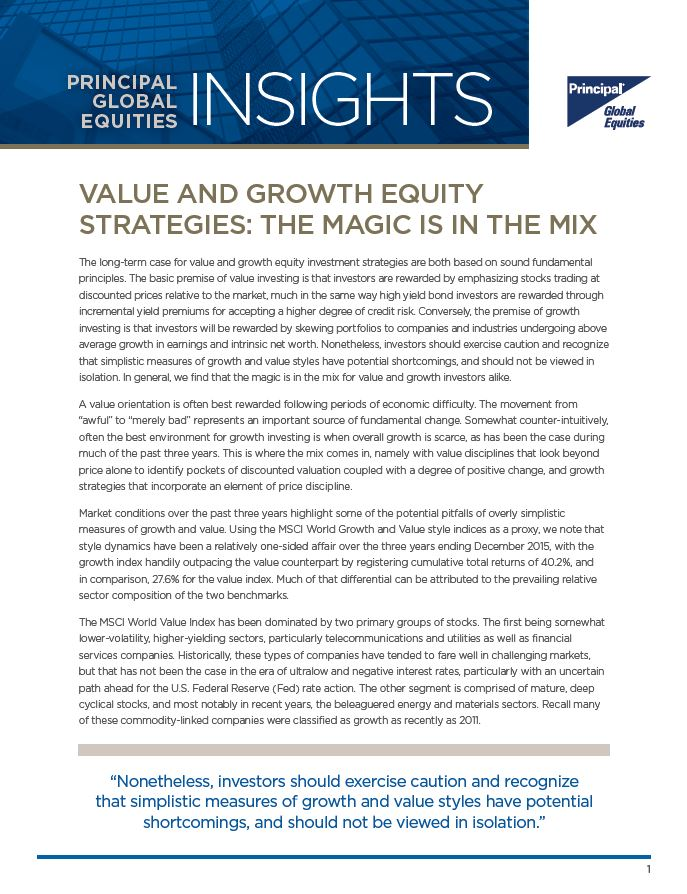 Value and Growth Equity Strategies: The Magic is in the Mix