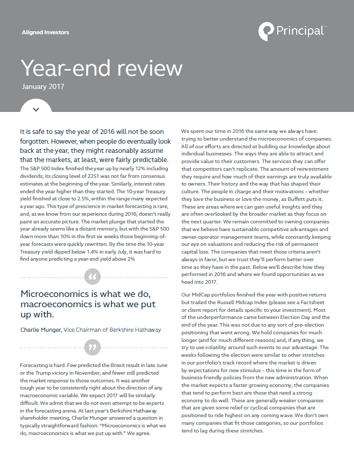 Aligned Investors 2016 year-end review