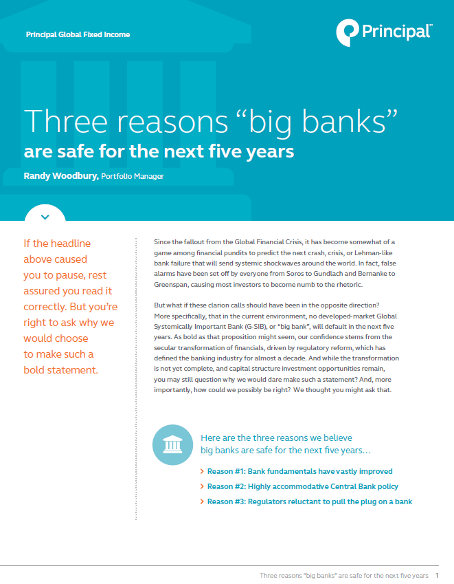 Randy Woodbury, Principal Global Fixed Income Portfolio Manager discusses why big banks are safe for the next five years