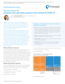 Principal Real Estate Investors special bulletin #5: Economic and real estate outlook in the context of COVID-19