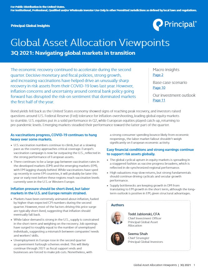 Global Asset Allocation Viewpoints, 3Q 2021 thumbnail image