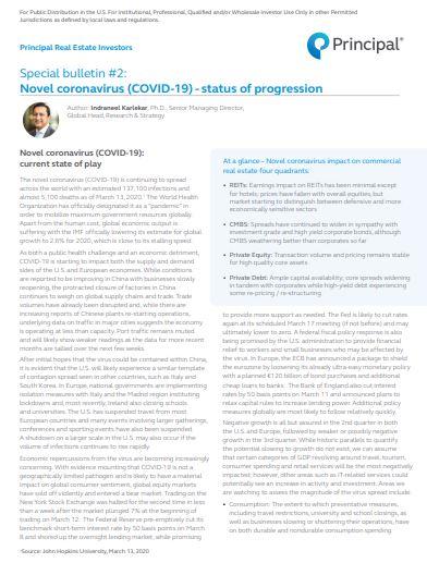 Special bulletin #2: COVID-19 - status of progression on CRE