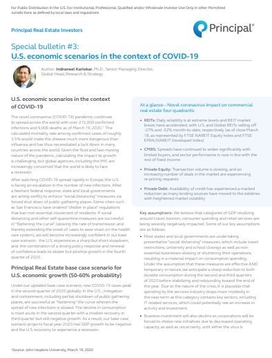 Principal Real Estate Investors special bulletin #3: U.S. economic scenarios in the context of COVID-19