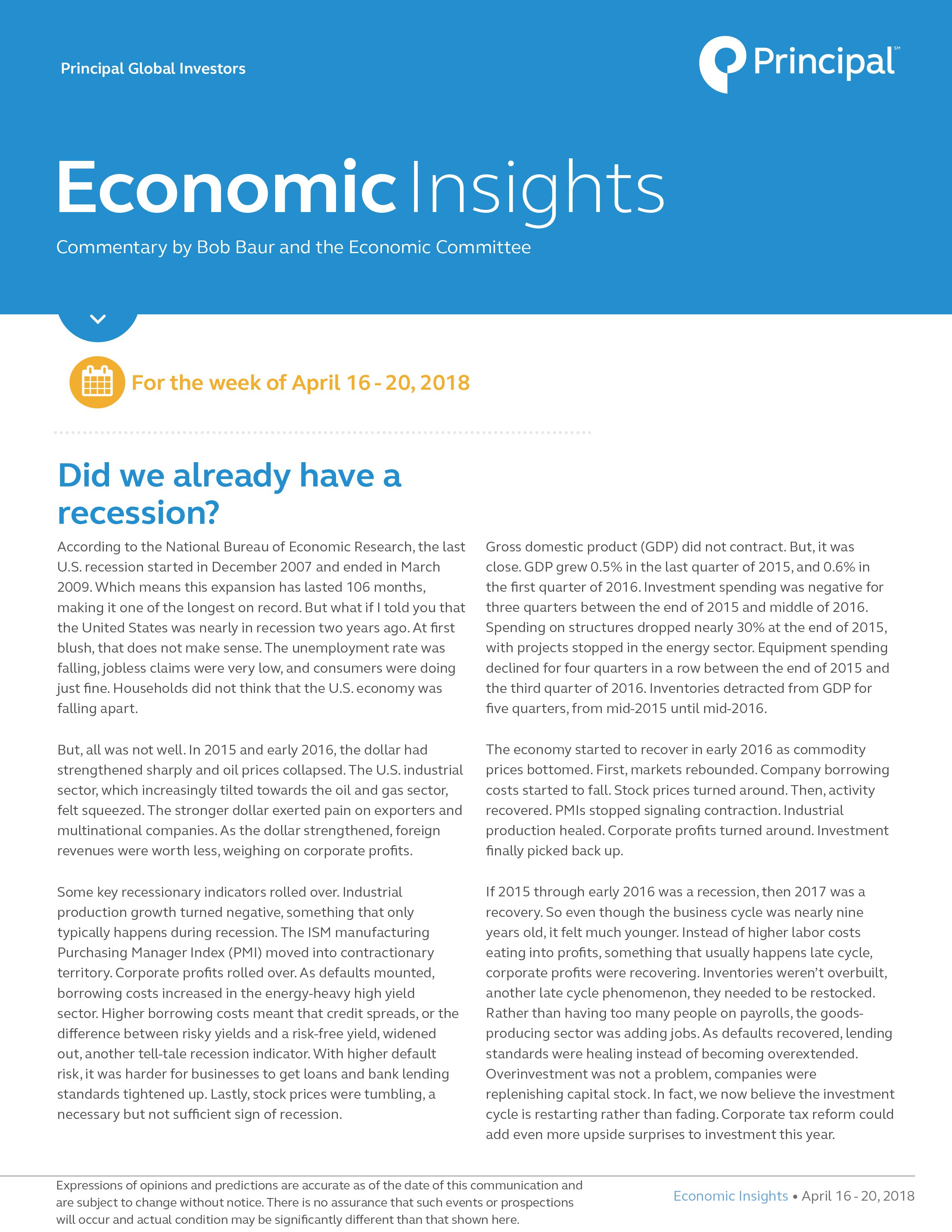 Economic Insights for April 16 - 20